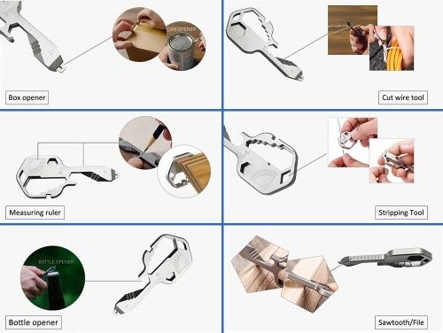 24-in-1 Keychain Multi-function portable Key Tool Versatile Outdoor Mini Tool Stainless Steel Screwdriver Bottle Opener Outdoor Camping Home Repair