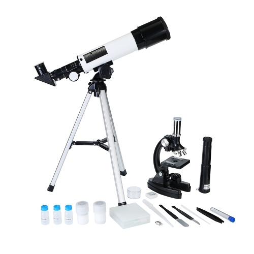 2 в 1 Учебный комплект Микроскоп и телескоп для детей Наука Научный набор со всеми аксессуарами Подарок для детей