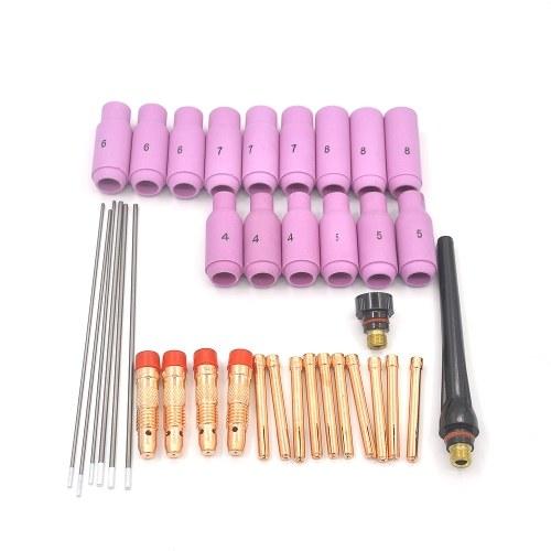 37 pezzi TIG Set di ricambi 1.6 / 2.4mm Accessori per saldatura per torcia WP17 / 18/26