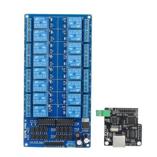 Módulo de control Ethernet LAN WAN Red Servidor WEB Puerto RJ45 Relé de 16 canales LJ