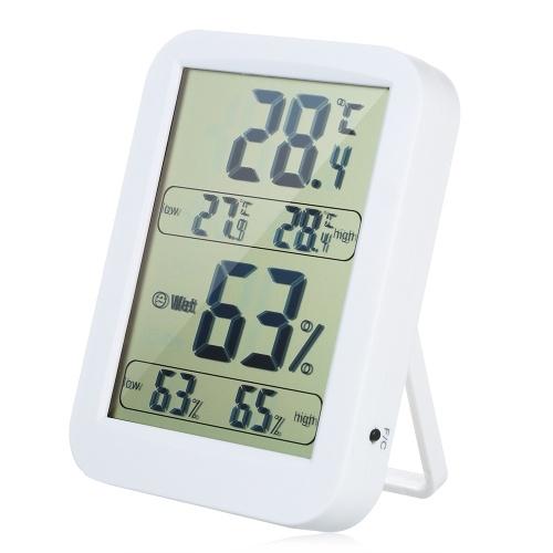 Termometro digitale interno Igrometro ° C / ° F Record min / max Indicatori di comfort Display Temperatura Umidità Monitor Monitor Termoigrometro