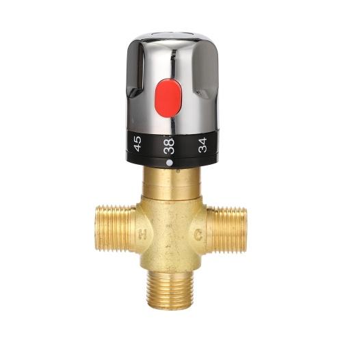 Miscelatore termostatico regolabile per bagno Miscelatore acqua in ottone Miscelatore acqua calda / fredda Valvola termoregolatrice per scaldabagno domestico