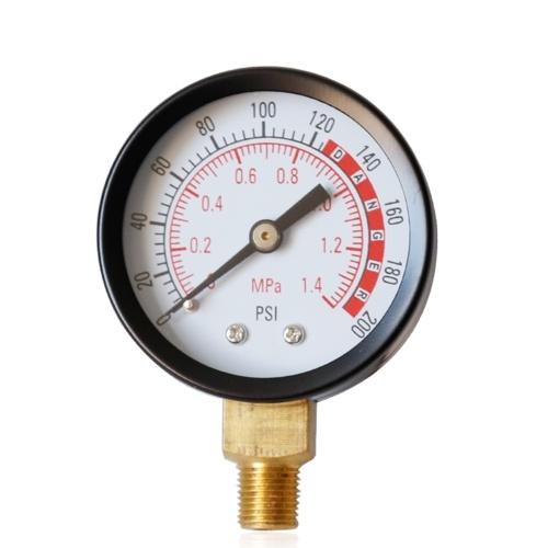 """2 """"ダイヤル式油圧流体圧力計メーターダブルスケール1/8"""" NPT 0-1.4mpa 0-200psi空気圧縮機用ラジアル測定ツール"""