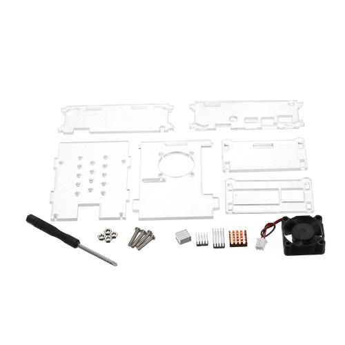 Raspberry Pi 3 & 2 Model B Clear Acrylic Case with Cooling Fan Heatsinks for Raspberry Pi Model B+