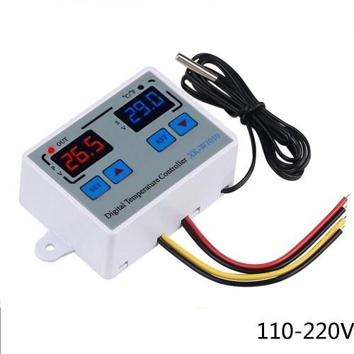 Termostato digitale C / F Regolatore di temperatura per incubatore Relè LED 10A Riscaldatore Radiatore Uscita diretta XK-W1010 AC110-220V
