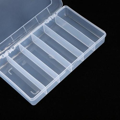 Portable Transparent Lastics Box 6 Grids Fixed Elements Storage Box