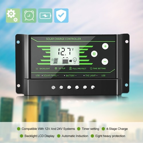 Multi-Protection Portable Solar Controller 12V/24V Double USB Interface PWM Street Lamp Intelligent Charge Controller