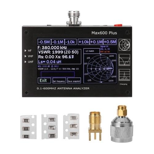 """Analizzatore di antenne UHF VHF Max600 Plus HF 0,1-600 MHz con schermo tattile LCD TFT da 4,3 """""""