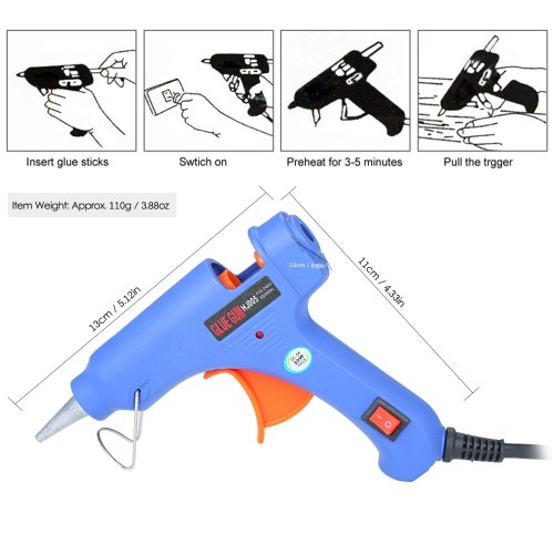 20W Hot Melt Glue Gun Hot Melt Glue Machine Multifunctional Industrial Household DIY Glue Gun with Switch Button Blue HJ005