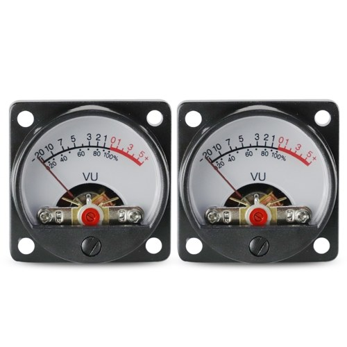 2*500μA Panel VU Meters Double Volume Unit Level Meter Indicator with Back Light Plastic Shell 650Ohm Internal DC Resistance