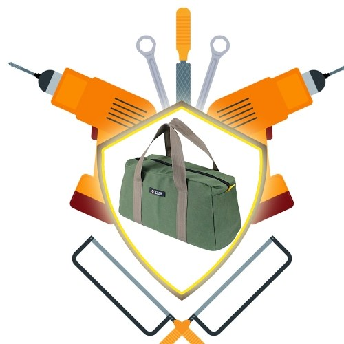 PENGGONG Large Thickened Wear-resistant Maintenance Tool Storage Bag Multifunctional Portable Tool Bag Large Capacity Canvas Bag 14-inch Army Green 16