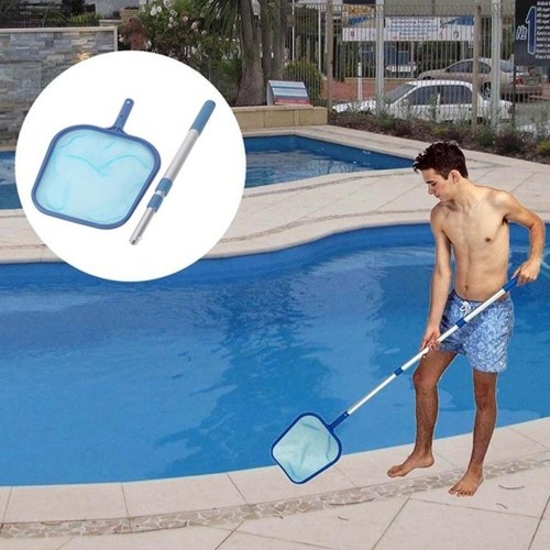 Swimming Pool Skimmer Net Set Includes 1 PCS Deep Leaf Skimmer Net 1 PCS Leaf Rake with Mesh Net Bag 1 PCS Aluminum Telescopic Pole Cleaning Tool for Pools and Spa (Flat Rake and Deep Rake)