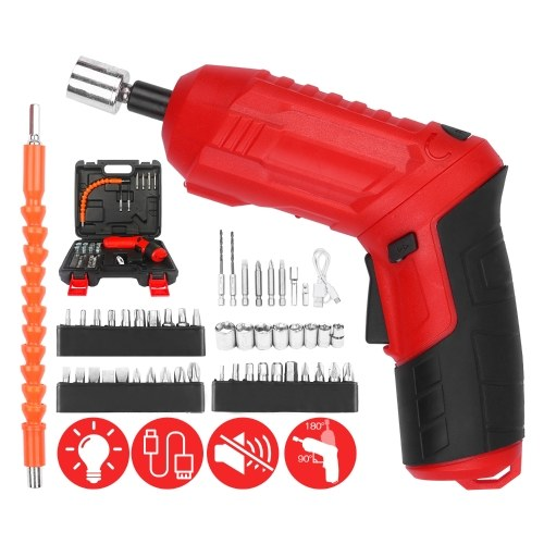 Cordless Screwdriver 47Pcs 3.5Nm Electric Screwdriver Set 3.6V 1800mAh USB Rechargeable Ratchet Wrench Front LED Adjustable 2 Position with Carry Box