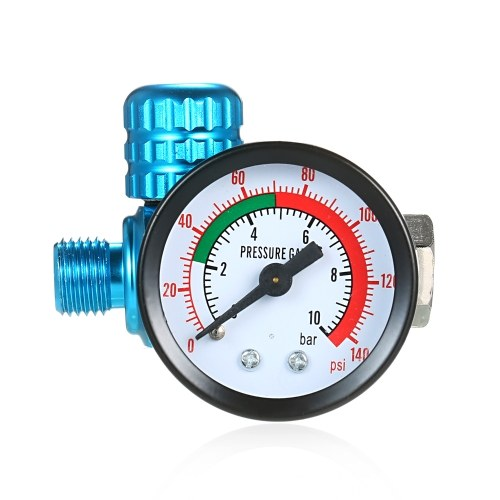 1/4 Inch 140PSI Mini Air Regulator Auto Pressure Regulator Valve Tool Tail Pressure Gauge with Nozzle For Spray Tool