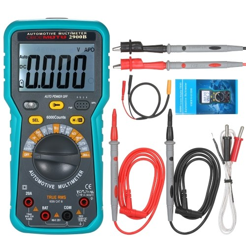 Automotive Multimeter 6000 Counts True RMS LCD Digital Universal Meter with Flashlight