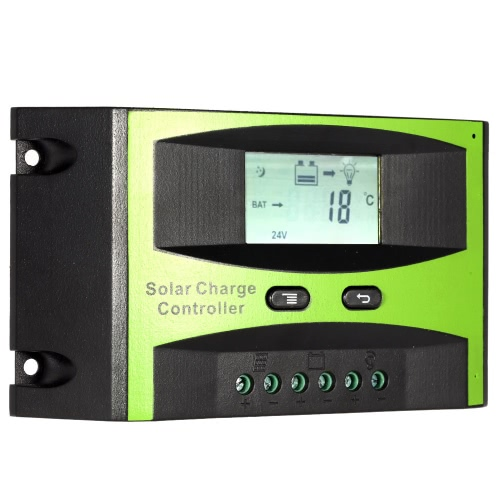 25A 12V/24V Solar Charge Controller PWM Charging Temperature Compensation Overload Protection LCD Display for Solar Off-grid System