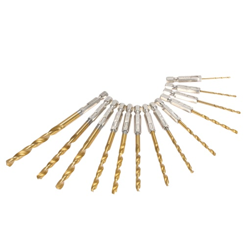 "13 szt. / Zestaw 1.5-6.5mm Stal szybkotnąca Titanium Coated 1/4 ""Hex Shank Drill Bit Set Woodworking Wood Drilling Tools"