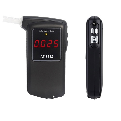 Professional Breathalyzer Portable Digital Breath Alcohol Tester Alcohol Tester Meter with 10pcs Transparent Mouthpieces Alcohol Tester Meter Analyzer Detector AT-858