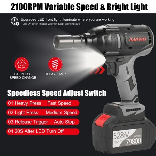Cordless Impact Wrench 600Nm High Torque Brushless Motor 1/2 Inch Quick Chuck Fast Charger Variable Speed Power Impact Kit Easily Remove Lug Nuts Bolts with 2x6.0Ah Battery 18 Attachments for Automotive Repair