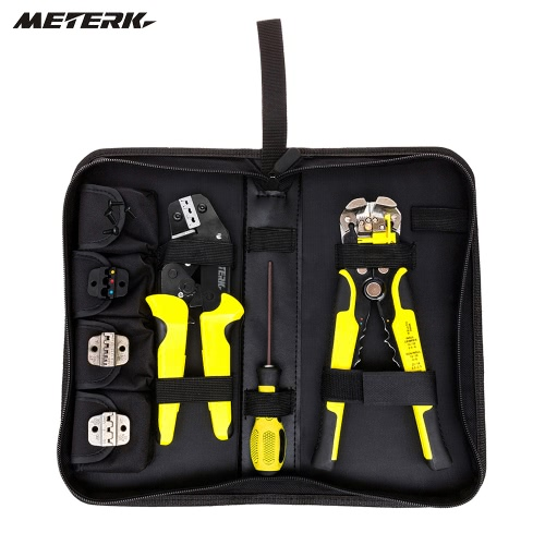 Meterk Professional 4 em 1 fio Crimpers Engenharia Ratcheting Terminal de friso Alicates Bootlace Virola Crimper Ferramenta terminais do cabo End com arame Stripper