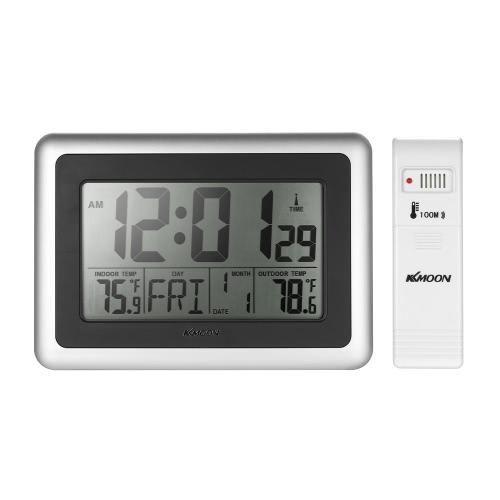 KKmoon Horloge sans fil de température de thermomètre de RCC Grande horloge de contrôle de radio d'affichage à cristaux liquides avec Snooze Réveil Fonction de calendrier