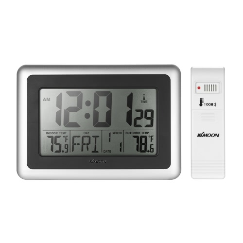 KKmoon Termómetro inalámbrico RCC reloj de temperatura Reloj de control de radio LCD grande con función de calendario despertador Snooze