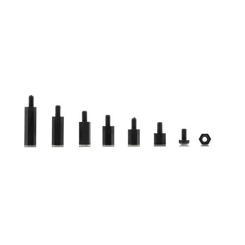 白/黒プラスチックナイロンM3 / M2六角柱スタンドオフフィリップスねじオス - スペーサーネジナット各種プラスチック製ボックス付き取り付け金具キット