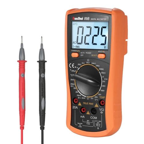 RuoShui 1999 Contagem True RMS Multi-funcional Multímetro digital DMM com DC AC Tensão Corrente Meter Resistance Diode Capacitance Tester Temperatura Medição Continuidade Teste Backlight Display LCD