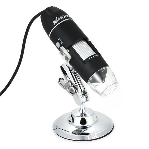 Microscopio digitale USB di ingrandimento KKmoon 1600X con funzione OTG Lente di ingrandimento con lente di ingrandimento a 8 LED con supporto