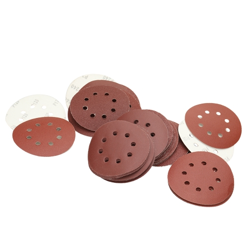 5 Inch 8 Hole Roundness Sander Sandpaper 60 Pieces Assorted 40 / 60 / 80 / 120 / 180 / 240 Grits 10 each