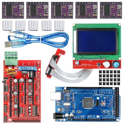 Kit de impresora 3D con Mega 2560 R3 Board + RAMS 1.4 Controller + 5pcs 8825 Driver Module con disipador de calor + LCD 12864 Graphic Smart Display Controller con adaptador para Arduino RepRap