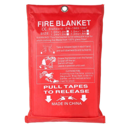 1M*1M Fiberglass Fire Blanket for Emergency Survival Fire Fighting Shelter Safety Shield