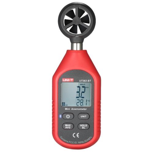 UNI-T UT363BTミニLCDデジタル風速計ハンドヘルド風速計ブラックライト付き気流温度テスター