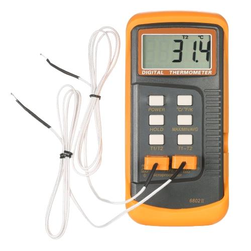 Thermomètre à affichage à cristaux liquides portatif à affichage à cristaux liquides Thermocouple de type K à 2 canaux -50 ~ 1300 ° C / -58 ~ 2372 ° F Fonction de maintien des données