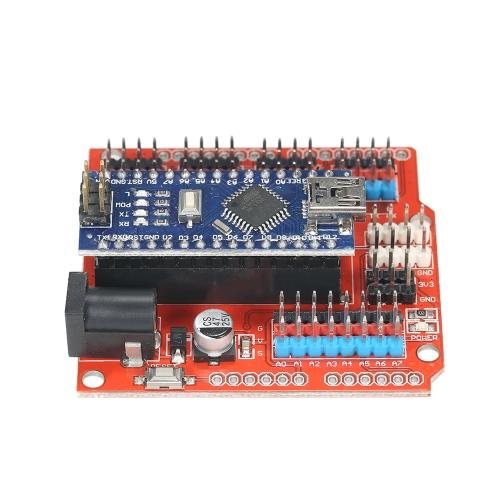 Moduł rozszerzenia NANO I / O Shield RED + UNO R3 Nano V3.0 ATmega328P Płytka dla Arduino