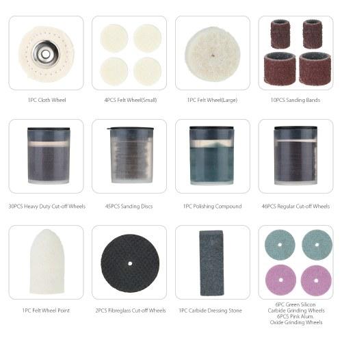 "Rotary Tool Accessories Kit,Meterk 180pcs 1//8/"" Shank Electric Grinder Universal"