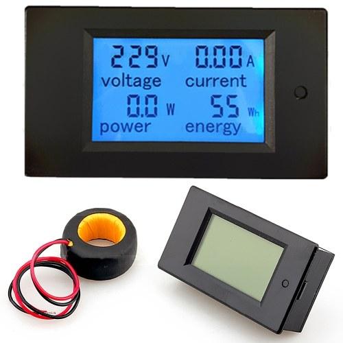 100A AC 80V-260V 20A / 100A 4 in 1 Pannello LCD digitale Potenza digitale Monitor Watt Voltmetro corrente Amperometro Tensione KWh Tester multimetro Tester con trasformatore di corrente CT