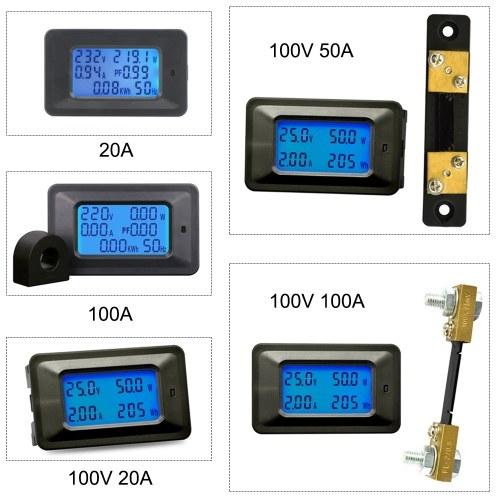 Многофункциональный 100В 50А ЖК-дисплей с подсветкой Цифровой измеритель напряжения / тока / мощности / энергии Тестер Монитор Мультиметр Амперметр Вольтметр с внешним шунтом фото