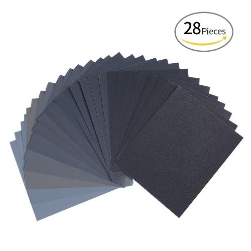 LANHU da 120 a 3000 carta abrasiva grana asciutta / bagnata per la rifinitura di mobili in legno Levigatura e lucidatura di metalli in metallo 9 * 11 pollici da 28 fogli