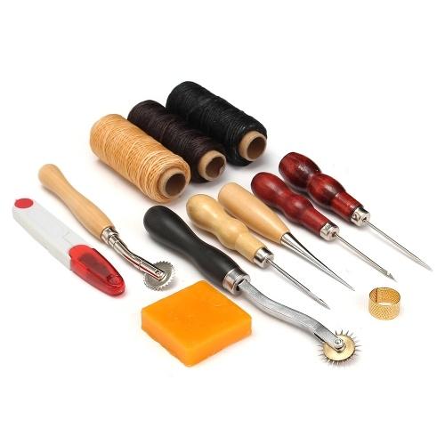 13 Stücke Leder Handwerk Werkzeuge Kit Hand Nähen Nähen Punch Carving Arbeitssattel Leathercraft Zubehör