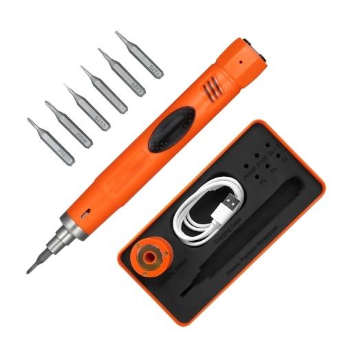 ミニドライバーキット精密ドライバーセットペン型コードレス電動ドライバー付き6ピースビット用携帯電話修理調整可能トルク