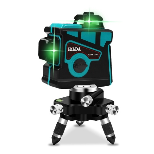 HILDA 12 Line Green Light 360° Laser Level Self-leveling Horizontal Vertical Cross Super Powerful Automatic