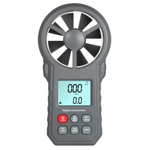 Professional LCD Digital Anemometer Wind Speed Meter Wind Speed/Air Velocity/Air Temperature Test Tool Wind Speed Gauges with Flashlight