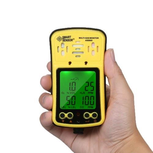 SMART SENSOR Portable and Handheld Multi Gas Monitor Handheld Gas Detector Oxygen/Carbon Monoxide/Hydrogen Sulfide/Combustible Gas