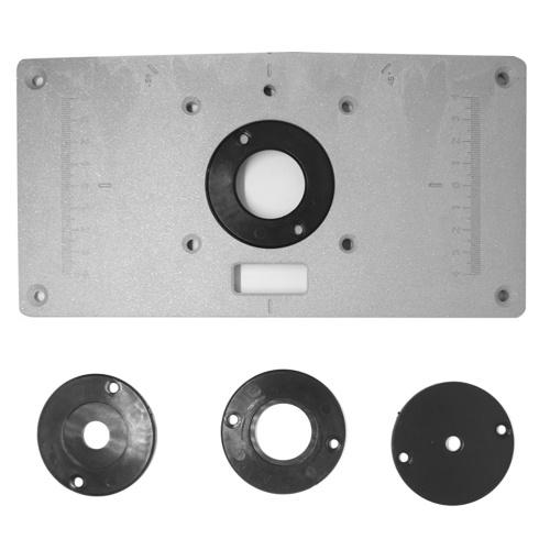 Piastra di inserto per tavolo del router in alluminio con 4 anelli e viti per banchi di lavorazione del legno Piastra per tavolo del router