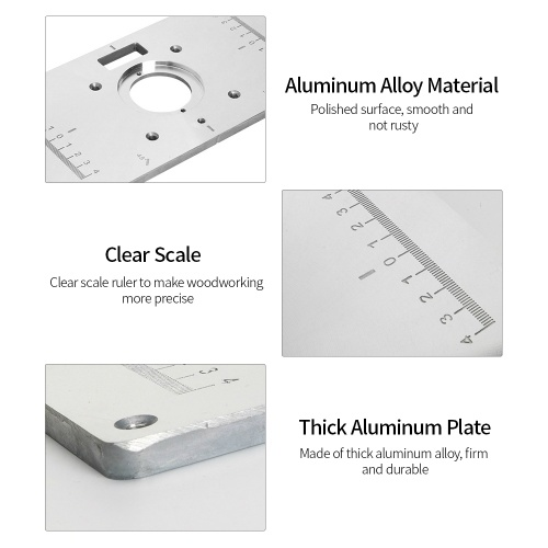 Aluminum Router Table Insert Plate with 4 Rings and Screws for Woodworking Benches Router Table Plate