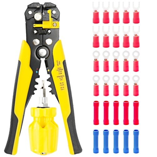 Stripping tool with terminals Kit Multifunctional Cable Wire Stripper Wire Cutter Crimping Pliers Stripping Tool Crimping Tool