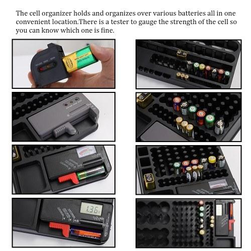 Portable Convenient Storage Cell Organizer With Tester Portable Holder Case Box Checker DIY Kit