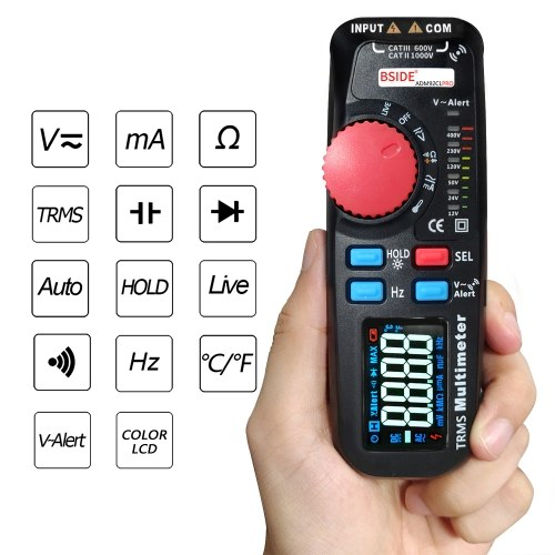 Mini TRMS Dual Mode Multimeter AC/DC Voltage Current Resistance Diode Capacitance Frequency Meter 6000 Counts Display with Data Hold Backlight Auto Power Off Function