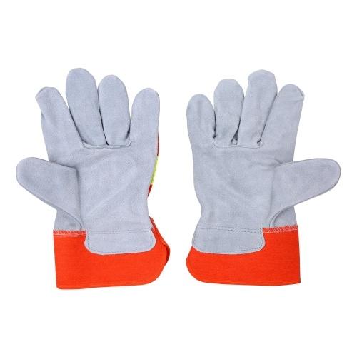 Cowhide Working Gloves Safety Gloves Reflective Work Gloves Work Protective Gloves 14-inch Welding Gloves with Reflective Stripe Industrial Gloves Welding Safety Hand Work Gloves
